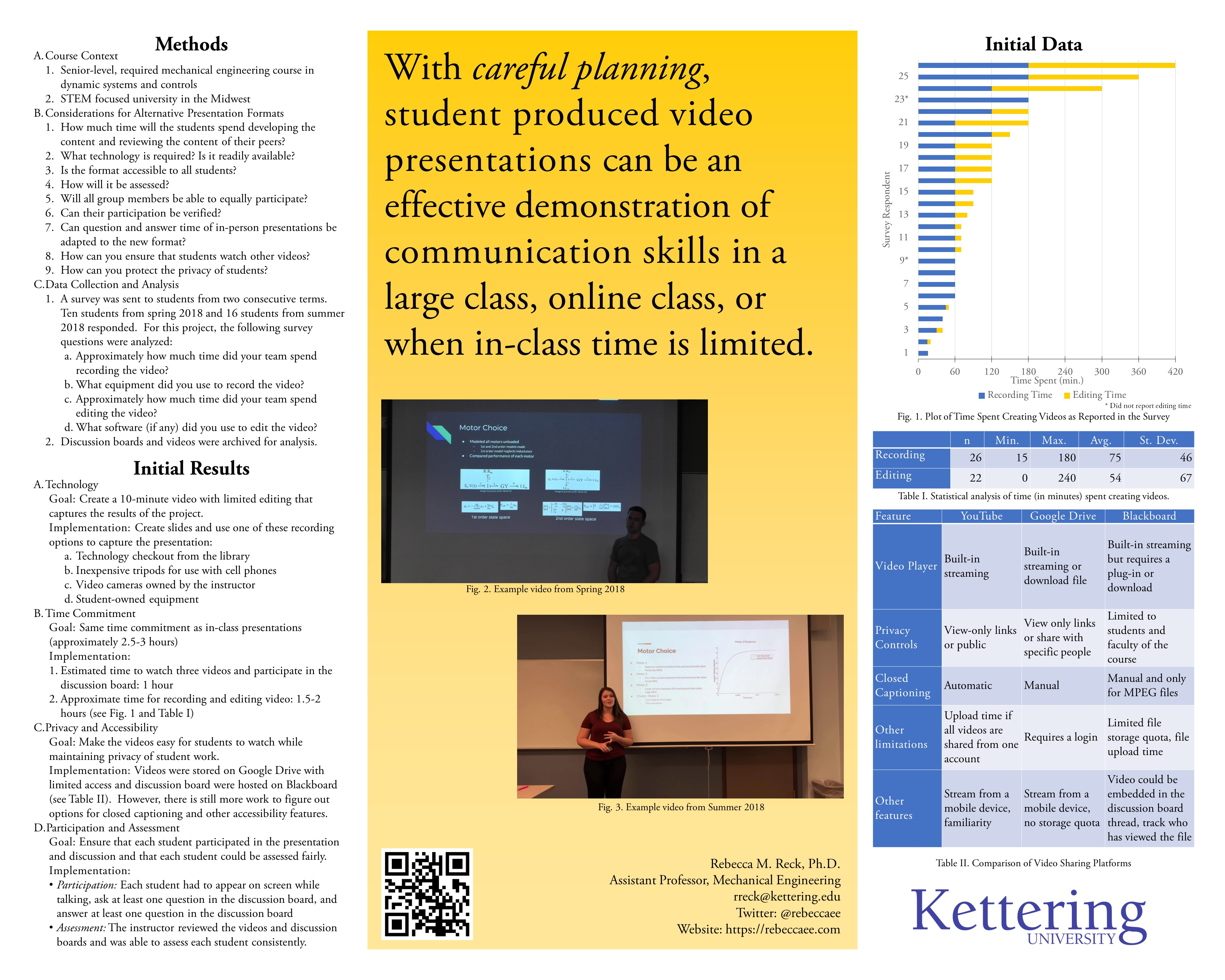 Research poster with data from a paper about logistics of a video assignment