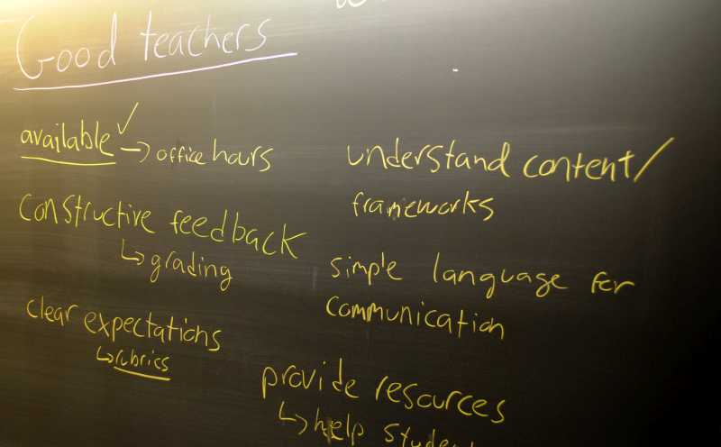 CC Image of Good Teacher Attributes on Chalkboard from Center for Teaching Vanderbilt University